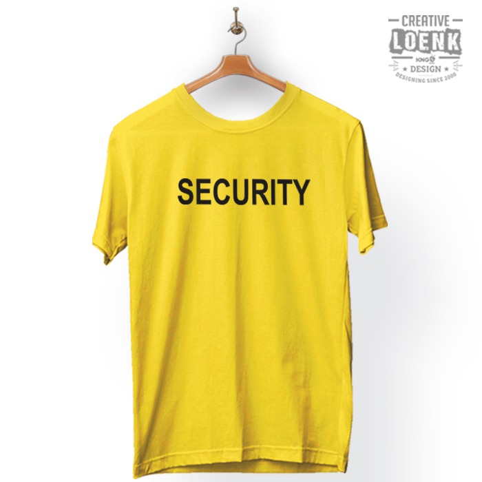 Baju Kaos Security Desain Simple Cotton Premium kuning