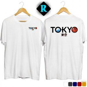 Kaos Distro Jepang Tokyo Premium Baju Keren Fashion Pria putih