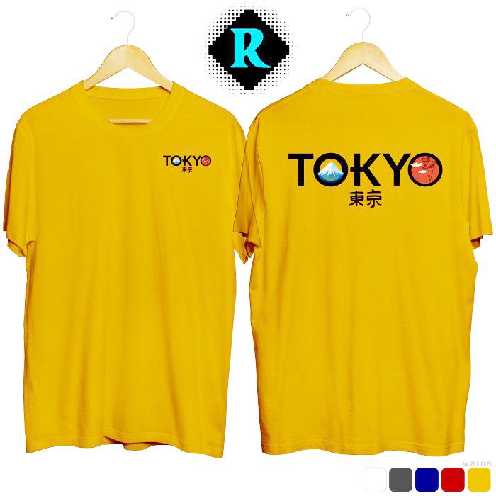 Kaos Distro Jepang Tokyo Premium Baju Keren Fashion Pria kuning
